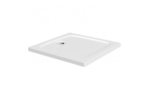 80x80 stone shower tray, white, incl front panel, feet and waste S003+S0509+1711C+S0506
