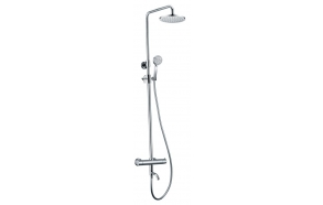 KIMURA shower/bathtub column with thermostatic mixer, chrome, metal handles, adjustable height