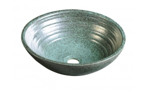 ATTILA ceramic washbasin diameter 43cm, ceramic, green copper color