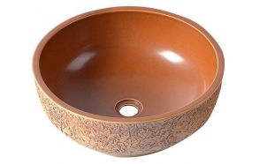 PRIORI ceramic basin diameter 43cm, ceramic, russet color
