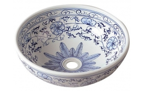 PRIORI ceramic basin diameter 42cm, ceramic, white color with blue painting