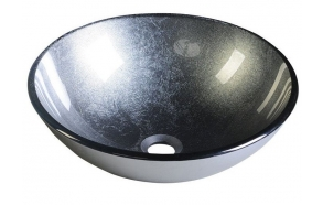 SKIN glass washbasin diameter 42cm, mettalic gray