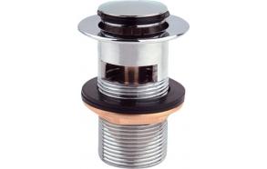 Push Button Round Basin Waste, small plug, chrome