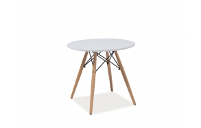 MDF table with wooden feet,white