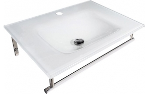 MADLENE glass washbasin with stainless steel support 70x50cm, white