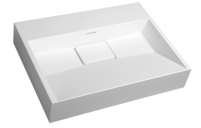 AMUR Cultured Marble Washbasin 60x15x45cm, without tap hole, white