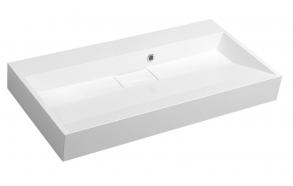 AMUR Cultured Marble Washbasin 90x9x46cm, without mixer hole, white