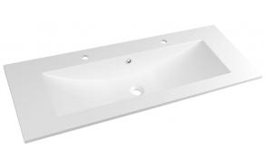 YUKON 2 Tap Hole Cultured Marble Washbasin 120x45cm, white