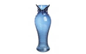 "14-1/8""H Glass Owl Vase, Blue"