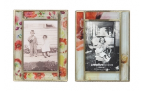 "4x4"" Glass Photo Frame w/ Floral Image, 6-1/4"" Square, 2 Styles"