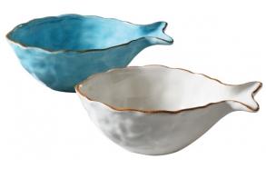 "10-1/2""L Dolomite Fish Bowl, 2 Colors"