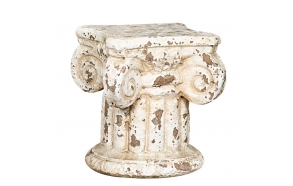 "7""H Terra Cotta Column Pedestal, Distressed Cream"
