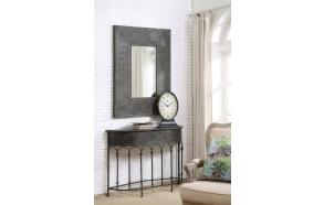 "37""L x 48-1/2""H Embossed Metal Framed Mirror, Mirror Size 18-1/2""L x 30""H, Black"