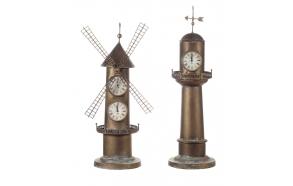 "30-1/2""H Iron Windmill Clockw/ 2 Faces - HR - MIN - SEC"