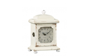 "10-3/4""H Wood Mantle Clock, Cream"