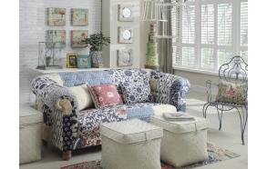 "80""L x 34""W x 32""H Fabric Sofa w/ Patchwork Floral Print"
