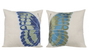 "18"" Square Cotton & Linen Pillow w/ Embroidered Butterfly, 2 Styles"