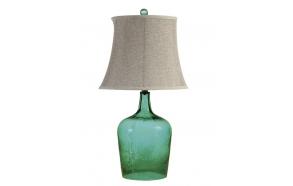 """27""""H Glass Table Lamp w/ Linen Shade, Green,(3 Way, 100 Watt Bulb Maximum)"""