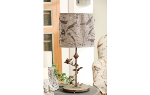 "28-1/2""H Iron Lamp w/ Collapsible Fabric Bird Printed Shade (40 Watt Bulb Maximum)"