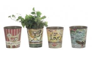 "7""H Tin Pot, Fits 6"" Plant, 4 Styles ©"
