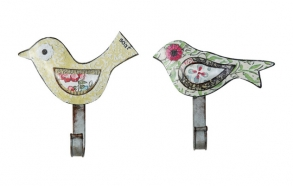 "8-1/4""L Tin Bird Wall Hook, 2 Styles ©"
