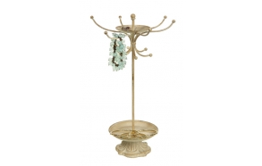 "13-1/2""H Metal Jewelry Holder, Cream"