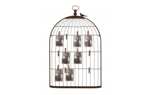 "22""L x 35""H Metal Birdcage Shape Card & Photo Holder, Rust"