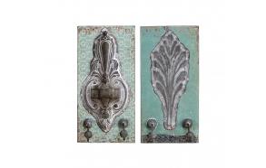 "12""H Wood & Tin Double WallHook, 2 Styles"