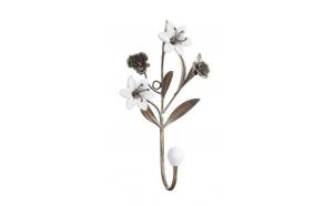 """10-1/4""""H Metal Hook w/ Ceramic Flowers"""