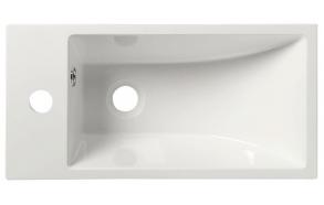 ARIANA Cast marble washbasin 50x10x25 cm, left, white