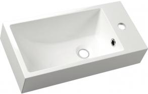 ARIANA Cast marble washbasin 50x10x25 cm, right, white