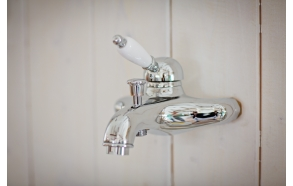 SINGLE LEVER BATH MIXER WITH SHOWER KIT WHITE LEVER CHROME
