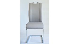 chair INFERNO,beige art. leather, chromed metal feet
