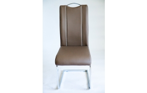 chair INFERNO,brown art. leather, chromed metal feet