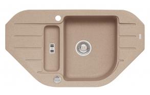 granite basin 90x50x16 cm, G55 beige, automatic siphon