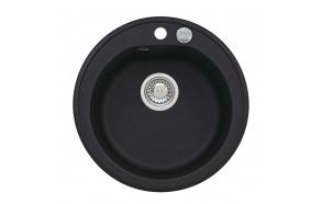 granite basin 51x51x17,5 cm, G91 black, automatic siphon