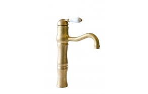high basin mixer with pop-up, raw brass, handle 76