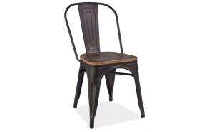 black vintage metal chair, wooden seat