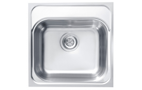 square stainless steel basin BASIC 140, 46,5x46,5 cm, height 18,5 cm, waste 3 1/2´´, satin finish. Drain not included.