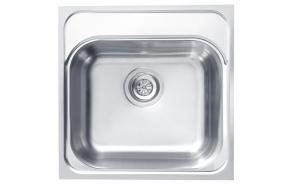 kandiline köögivalamu BASIC 140, 46,5x46,5 cm, h 18,5 cm, äravool 3 1/2´´, roostevaba, satiin. Sifoon ei kuulu komplekti.