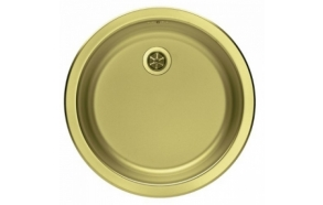 round stainless steel basin FORM 10, diam 45 cm, waste 1 1/2´´, golden finish. Drain is included.