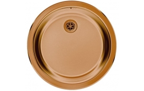 round stainless steel basin FORM 10, diam 45 cm, waste 1 1/2´´, copper finish. Drain is included.