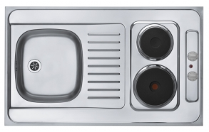 mini kitchen COMBI ELECTRA, 100x60 cm, stainless steel, satin finish, 230V, 3000W, 1,5 m cable included