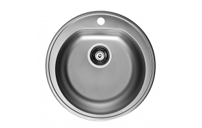 round stainless steel basin FORM 30, diam 51 cm, height 15,5 cm, waste 3 1/2´´, linen texture. Drain not included.