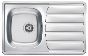 square stainless steel basin with worktop ZOOM 20, 79x50 cm, height 15.5 cm, waste 3 1/2´´,linen finish. Drain not included.