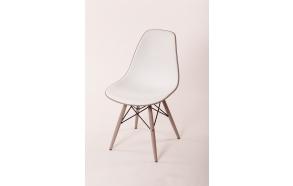 chair Alexis V, white/grey seat, grey feet