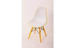 chair Alexis V, white/yellow seat, yellow feet
