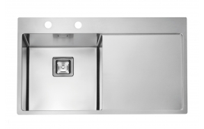 square stainless steel basin with worktop STYLUX 50 left, 86x51 cm height 20 cm, satin finish. Square automatic drain 3 1/2´´included.