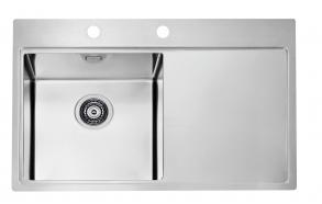 kandiline köögivalamu töötasapinnaga PURE 40 vasak, 79x52.5 cm h 20.5 cm, roostevaba satiin. Komplektis põhjaklapp ja sifoon 3 1/2´´.