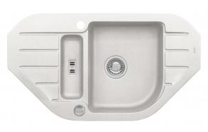 granite basin NIAGARA60-G11 90x50x16 cm, white, automatic siphon